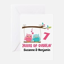 7th Anniversary 7 Years Owls Personalized Greeting