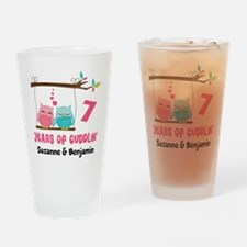7th Anniversary 7 Years Owls Personalized Drinking