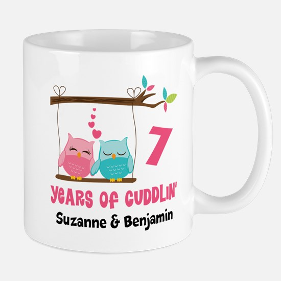 7th Anniversary 7 Years Owls Personalized Mugs