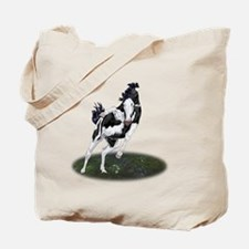 Rearing Black and White Overo Paint Horse Tote Bag