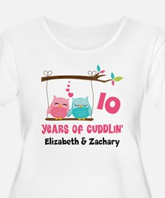 10th Anniversary 10 Years Owls Personalized Plus S