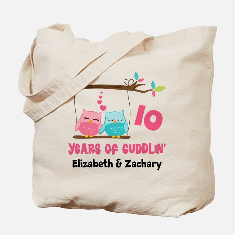 10th Anniversary 10 Years Owls Personalized Tote B