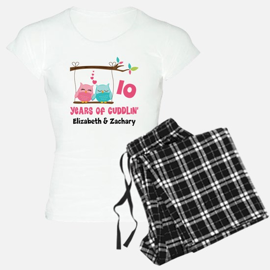 10th Anniversary 10 Years Owls Personalized Pajama