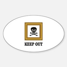 keep out sign in tan frame Decal