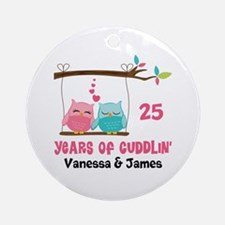 Personalized Anniversary Gift Owl Round Ornament