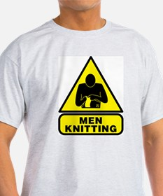 Men Knitting Road Sign T-Shirt