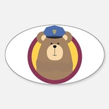 Police Officer Brown Bear in cirlce Decal