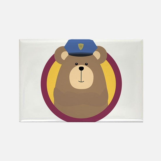 Police Officer Brown Bear in cirlce Magnets