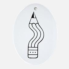 Bent Pencil Oval Ornament