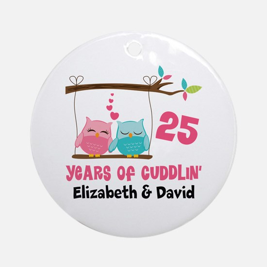 25th Anniversary 25 Years Owls Personalized Round