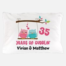 35th Anniversary 35 Years Owls Personalized Pillow