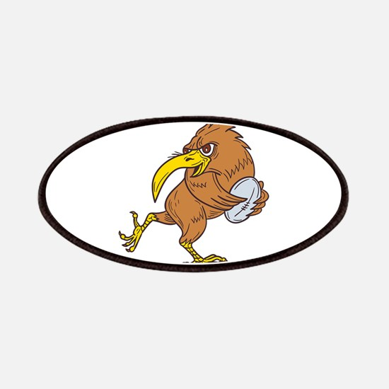 Kiwi Bird Running Rugby Ball Drawing Patch