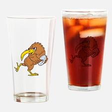 Kiwi Bird Running Rugby Ball Drawing Drinking Glas