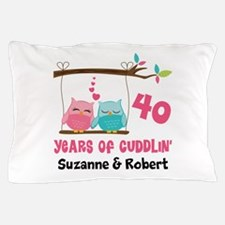 40th Anniversary 40 Years Owls Personalized Pillow