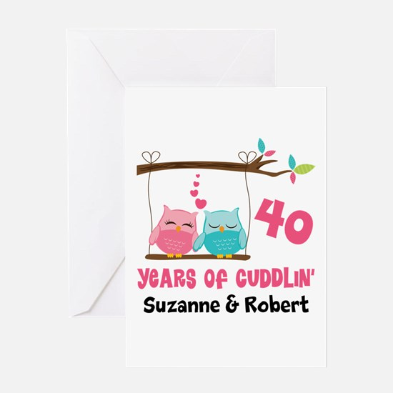 40th Anniversary 40 Years Owls Personalized Greeti