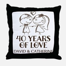 40th Wedding Anniversary Personalized Throw Pillow