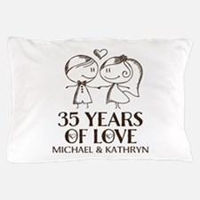 35th Wedding Anniversary Personalized Pillow Case
