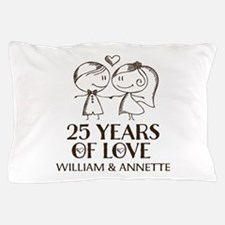 25th Wedding Anniversary Personalized Pillow Case