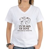 25th wedding anniversary Womens V-Neck T-shirts