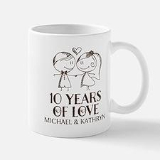 10th Wedding Anniversary Personalized Mugs