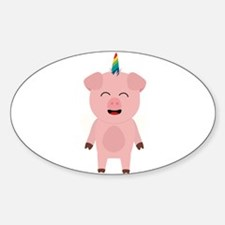 Pig with Unicorn Horn Decal