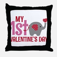 Elephant Girl's 1st Valentine's Day Throw Pillow