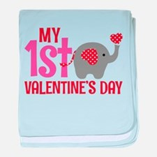 Elephant Girl's 1st Valentine's Day baby blanket