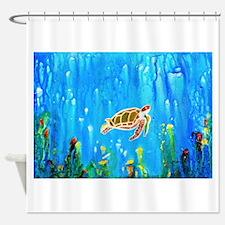 Happy Turtle Shower Curtain