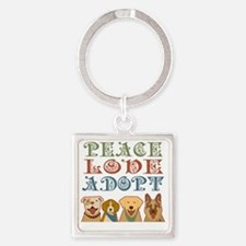 Cute Peace love adopt Square Keychain