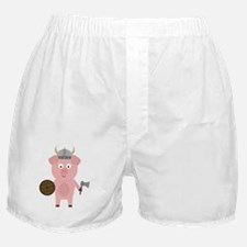 Viking Pig with helmet Boxer Shorts