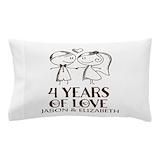 4th wedding anniversary linen Pillow Cases