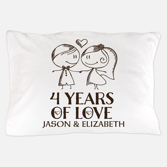 4th Wedding Anniversary Personalized Pillow Case