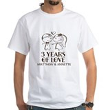 3rd wedding anniversary Mens White T-shirts