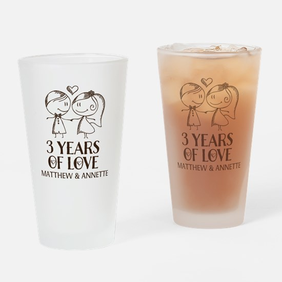 3rd Wedding Anniversary Personalized Drinking Glas