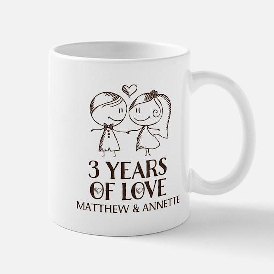 3rd Wedding Anniversary Personalized Mugs