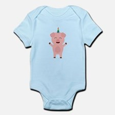 Unicorn Pig with rainbow Body Suit