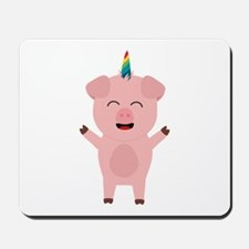 Unicorn Pig with rainbow Mousepad