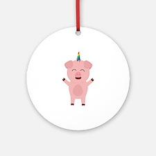 Unicorn Pig with rainbow Round Ornament
