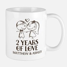 2nd Wedding Anniversary Personalized Mugs