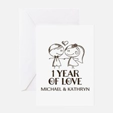 1st Wedding Anniversary Personalized Greeting Card