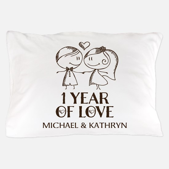 1st Wedding Anniversary Personalized Pillow Case