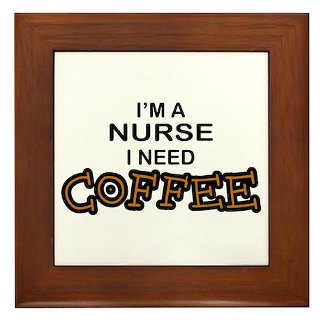 Nurse Need Coffee Framed Tile