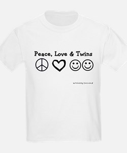Peace, Love & Twins Kids T-Shirt