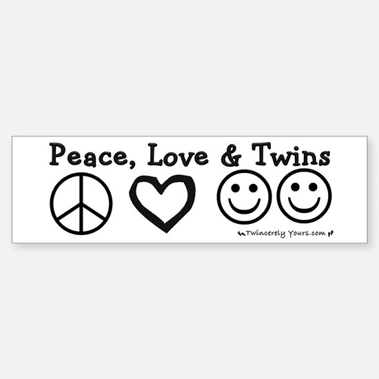 Peace, Love & Twins Bumper Bumper Bumper Sticker