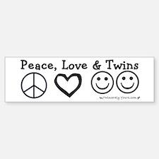 Peace, Love & Twins Bumper Car Car Sticker