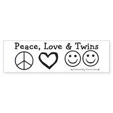 Peace, Love & Twins Bumper Car Sticker
