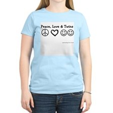 Peace, Love & Twins Women's Pink T-Shirt