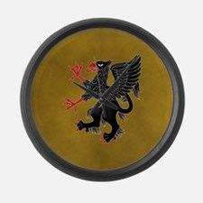 Griffin Rampant Sable on Gold Large Wall Clock