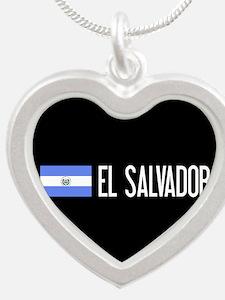 El Salvadoran Flag & El Salv Silver Heart Necklace