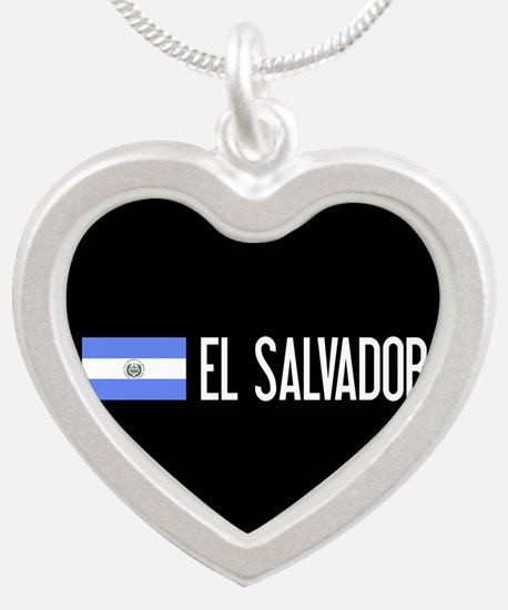 El Salvadoran Flag & El Salv Silver Heart Necklace